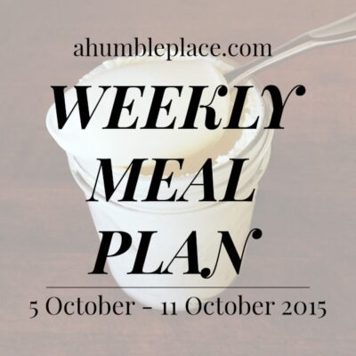 Weekly Meal Plan: 5 October to 11 October