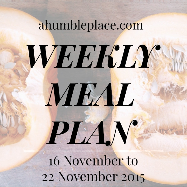 Weekly Meal Plan 16 November to 22 November