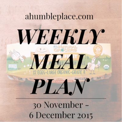 Weekly Meal Plan: 30 November to 6 December