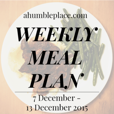 Weekly Meal Plan: 7 December to 13 December