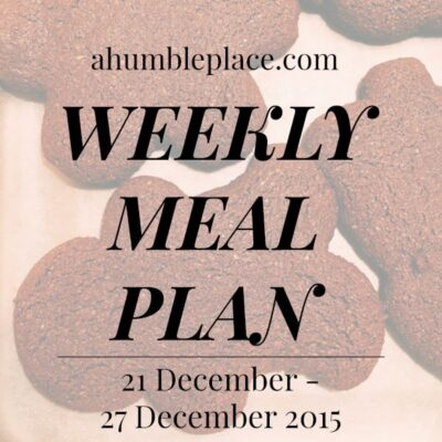 Weekly Meal Plan: 21 December to 27 December