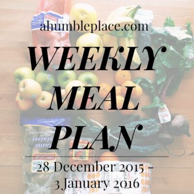 Weekly Meal Plan: 28 December to 3 January