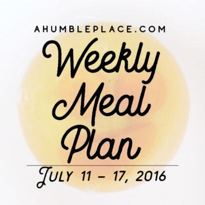 Weekly Meal Plan: 11 July to 17 July