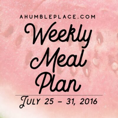 Weekly Meal Plan: 25 July to 31 July