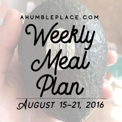 Weekly Meal Plan: 15 August to 21 August