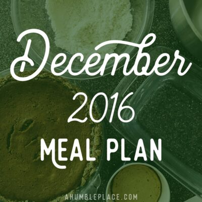 December 2016 Monthly Meal Plan
