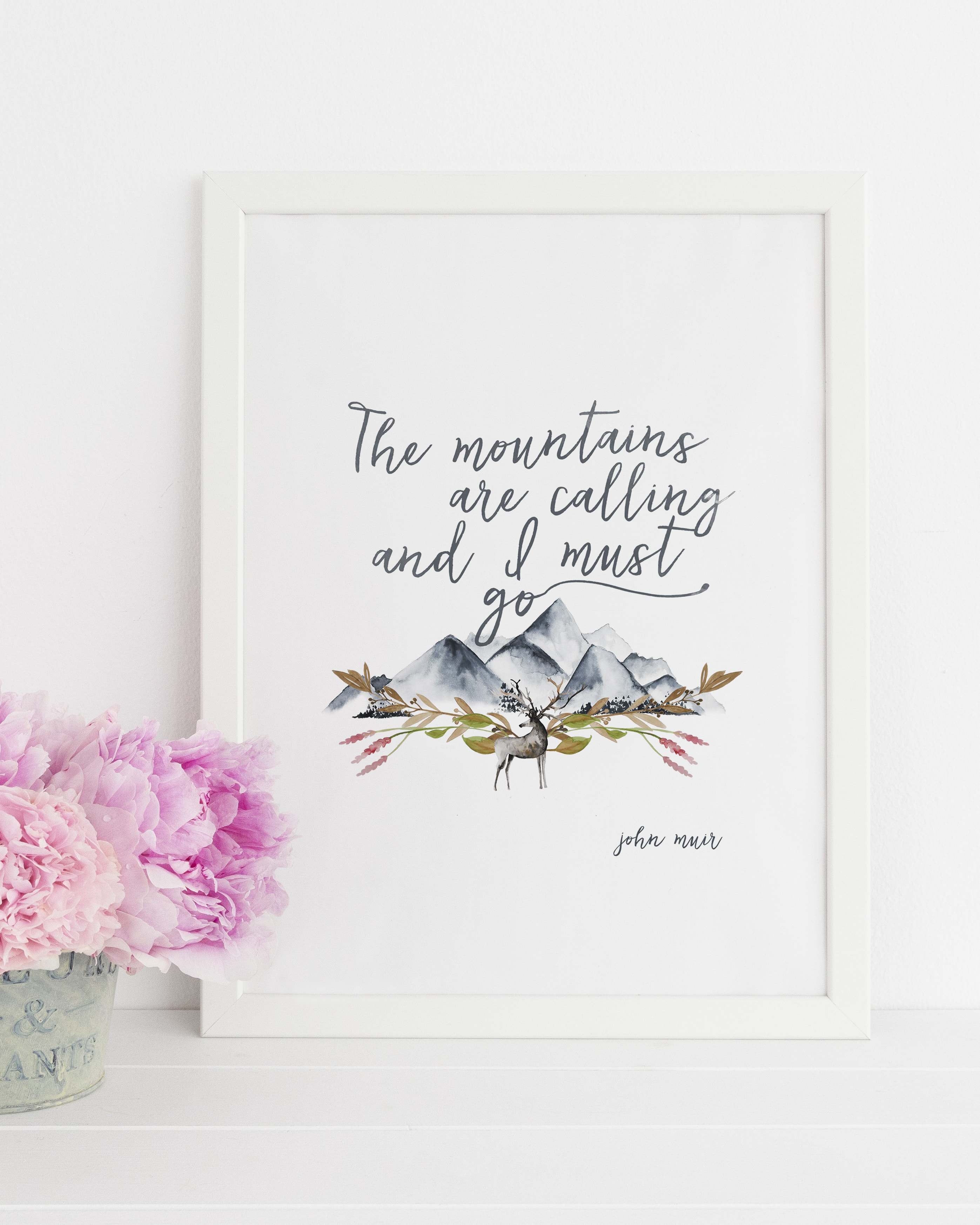 """John Muir """"The mountains are calling..."""" Quote with Watercolor Mountains Downloadable Print"""
