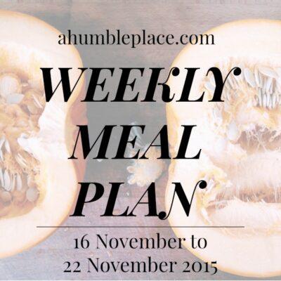 Weekly Meal Plan: 16 November to 22 November