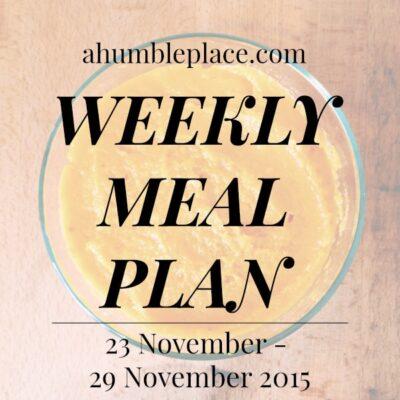 Weekly Meal Plan: 23 November to 29 November