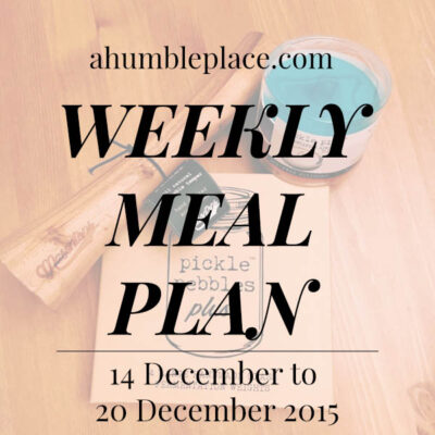 Weekly Meal Plan: 14 December to 20 December