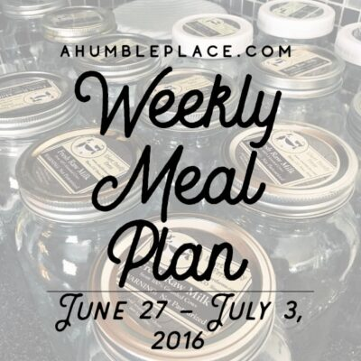 Weekly Meal Plan: 27 June to 3 July