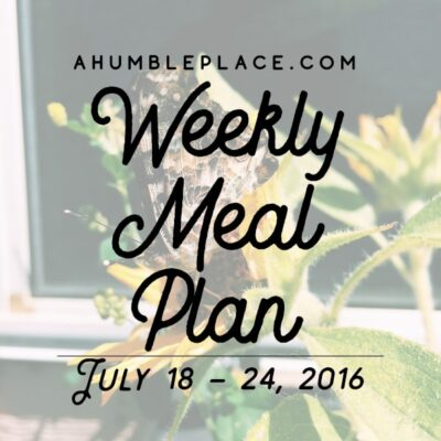 Weekly Meal Plan: 18 July to 24 July