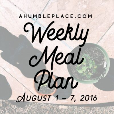 Weekly Meal Plan: 1 August to 7 August