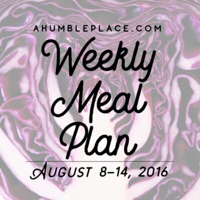 Weekly Meal Plan: 8 August to 14 August