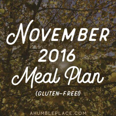 November 2016 Meal Plan