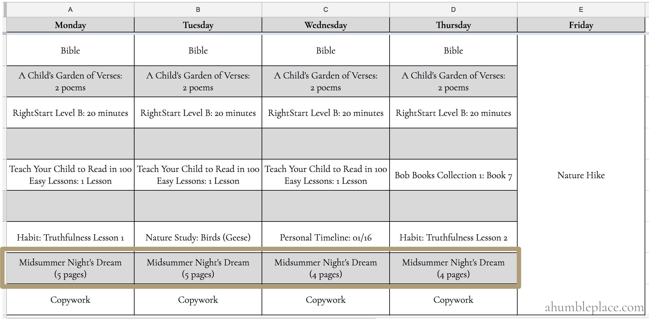 Charlotte Mason Homeschool Scheduling: Ambleside Online Year 1 - ahumbleplace.com