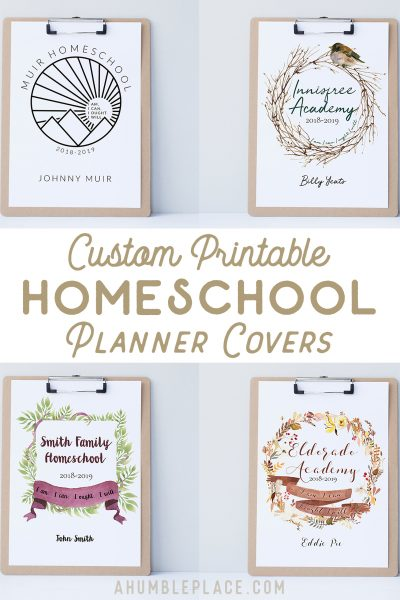 Custom Printable Homeschool Planner Covers - ahumbleplace.com
