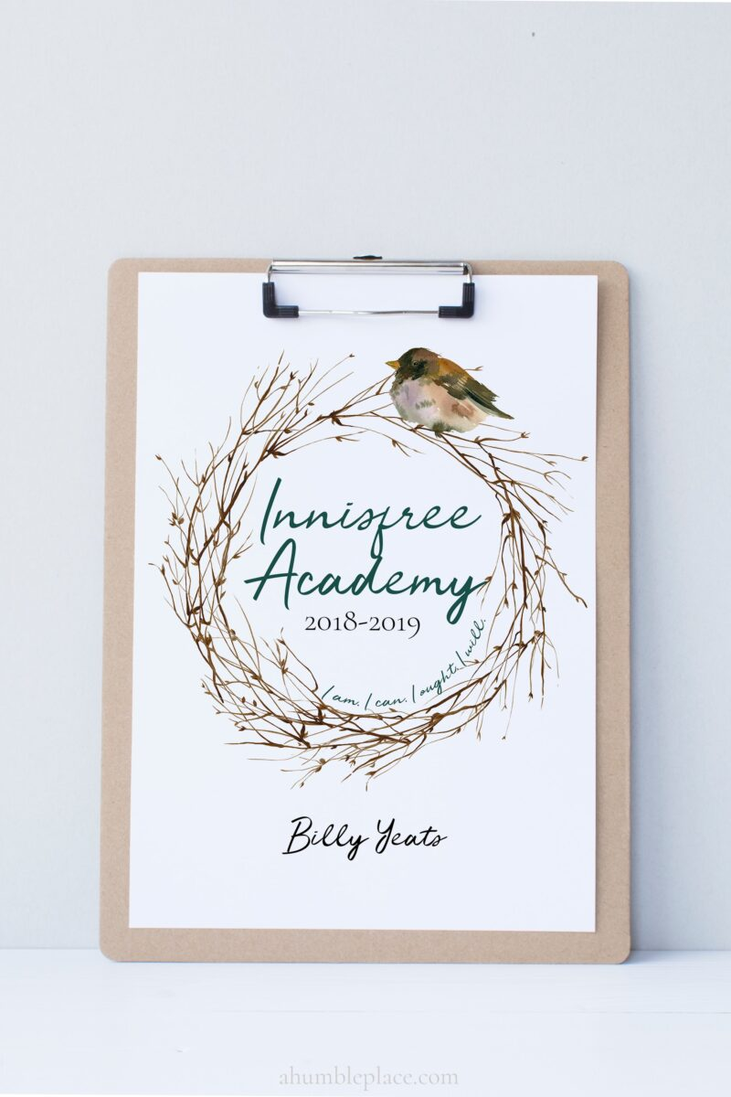 Printable Homeschool Planner Cover with Watercolor Wreath and Bird and Optional Charlotte Mason Quote - ahumbleplace.com
