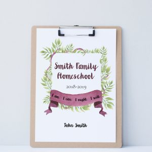 Printable Homeschool Planner Cover with Ferns and Ribbons and Charlotte Mason Quote - ahumbleplace.com
