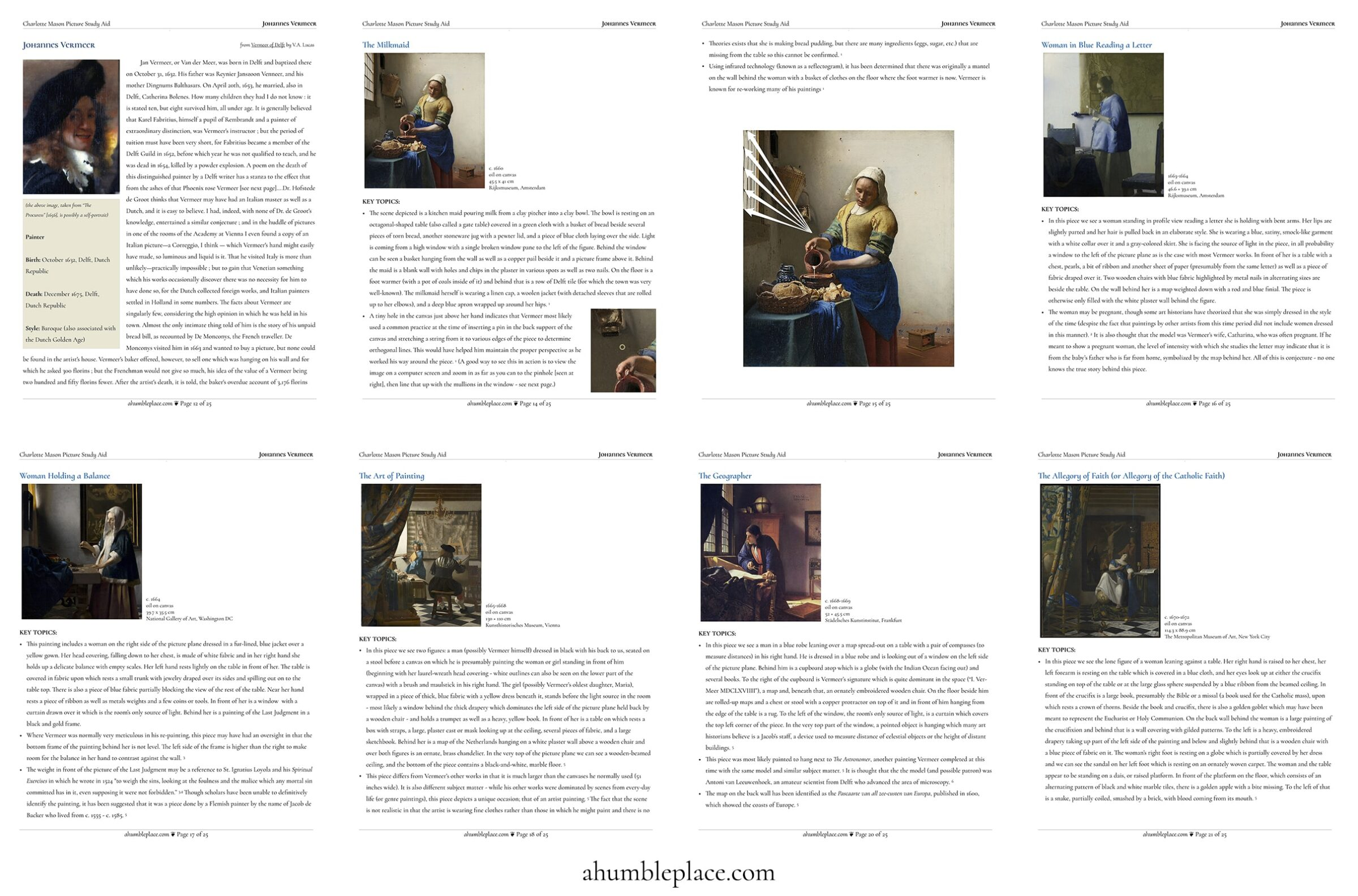 Johannes Vermeer: a (FREE!) Charlotte Mason Picture Study Aid - ahumbleplace.com
