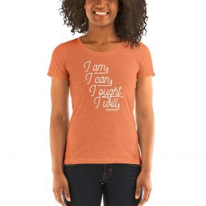 "Charlotte Mason ""I am. I can. I ought. I will."" in Cursive Line Art Ladies' short sleeve t-shirt - ahumbleplace.com"
