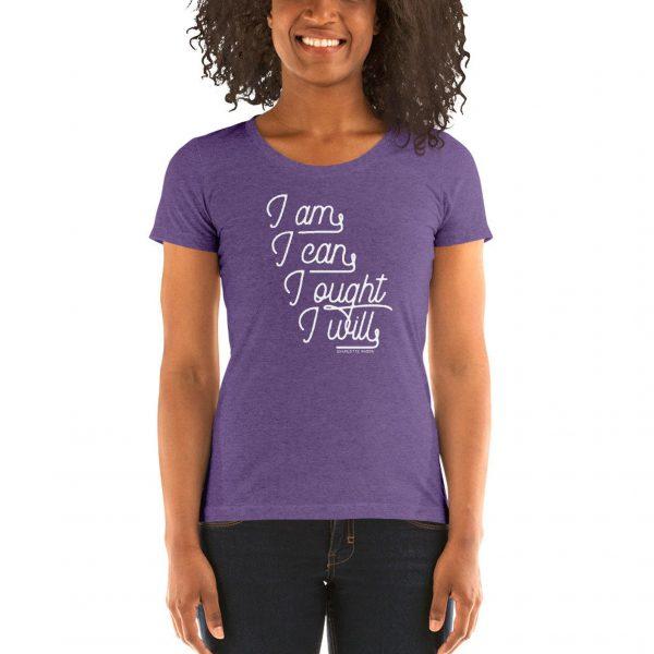 "Charlotte Mason ""I am. I can. I ought. I will."" in Cursive Line Art Ladies' short sleeve t-shirt - ahumbleplace.com"