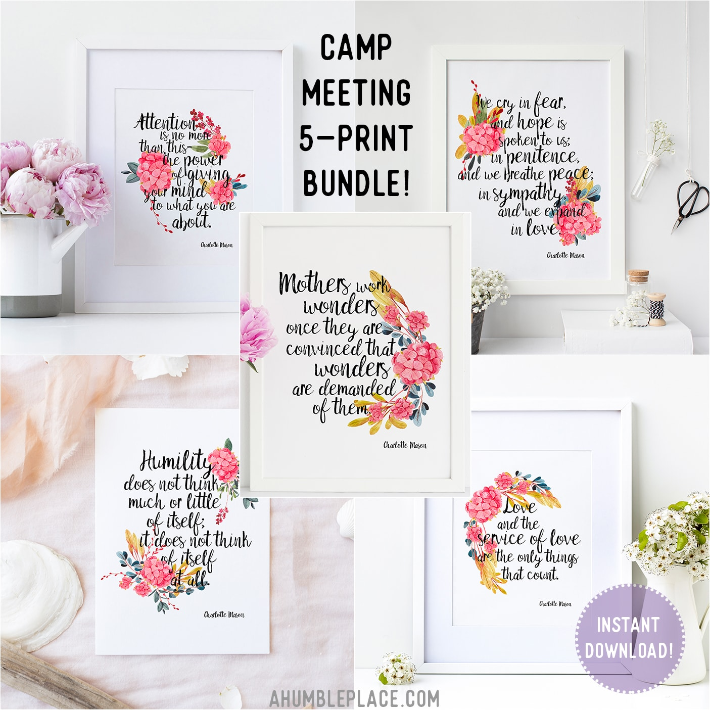 Camp Meeting 5-Print Charlotte Mason Quote Bundle! - ahumbleplace.com