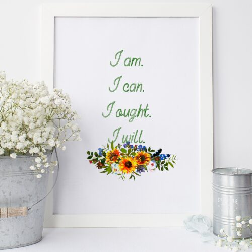 """Charlotte Mason """"I am…."""" Quote with Watercolor Sunflowers Downloadable Print - ahumbleplace.com"""