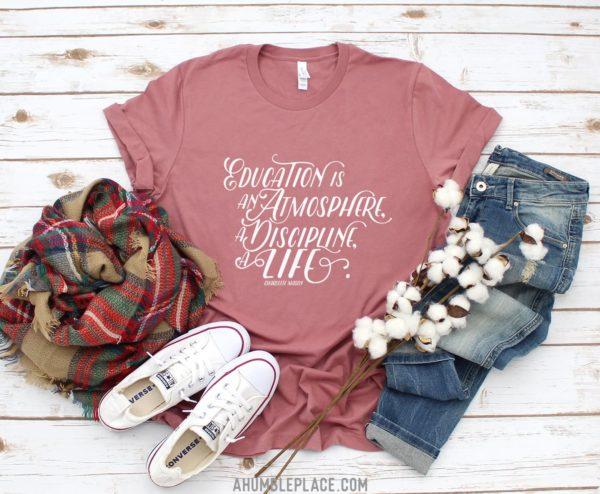 "Charlotte Mason ""Education is an atmosphere..."" Short-Sleeve Unisex T-Shirt - ahumbleplace.com"