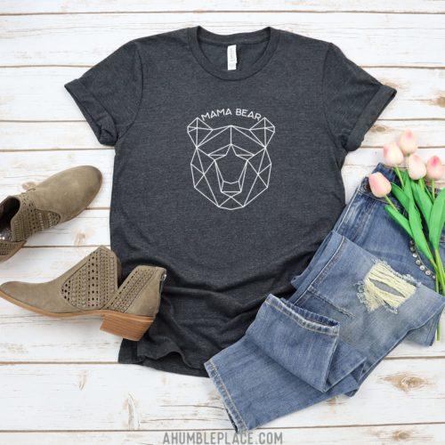 Geometric Mama Bear Short Sleeve Jersey T-Shirt - ahumbleplace.com