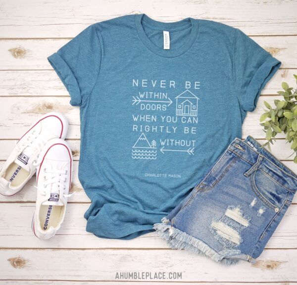 "Charlotte Mason ""Never be within doors..."" Unisex Short Sleeve Jersey T-Shirt - ahumbleplace.com"