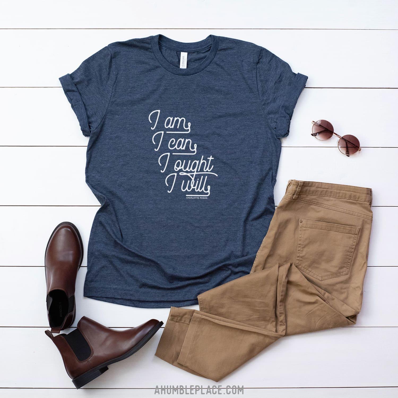 "Charlotte Mason ""I am. I can. I ought. I will."" in Cursive Short-Sleeve Unisex T-Shirt - ahumbleplace.com"