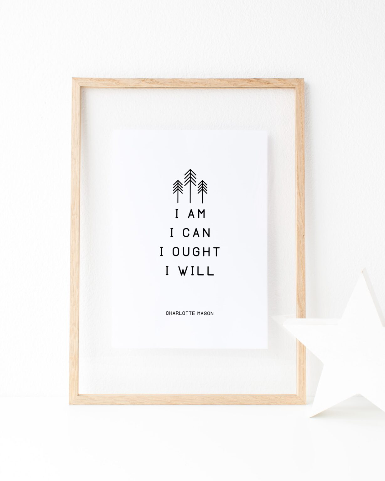 """Charlotte Mason """"I am...."""" Quote with Line Art Downloadable Print - ahumbleplace.com"""