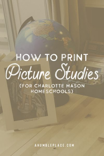 How to Print Picture Studies #charlottemason #picturestudy #homeschool