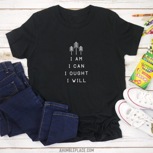 "Charlotte Mason ""I am. I can. I ought. I will."" Line Art Youth Short Sleeve T-Shirt - ahumbleplace.com"