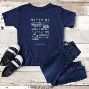 "Charlotte Mason ""Never be within doors…"" Line Art Youth Short Sleeve T-Shirt - ahumbleplace.com"