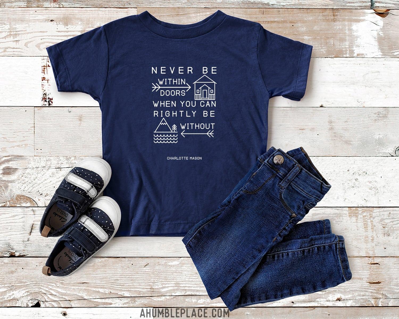 "Charlotte Mason ""Never be within doors…"" Line Art Youth Short Sleeve T-Shirt - ahumbleplace.com"