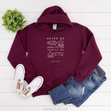 "Charlotte Mason ""Never be within doors…"" Line Art Hooded Sweatshirt - ahumbleplace.com"