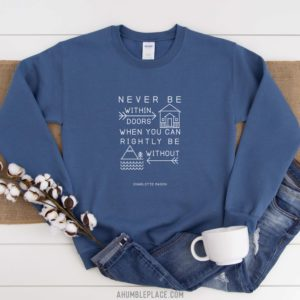 "Charlotte Mason ""Never be within doors…"" Line Art Unisex Sweatshirt"