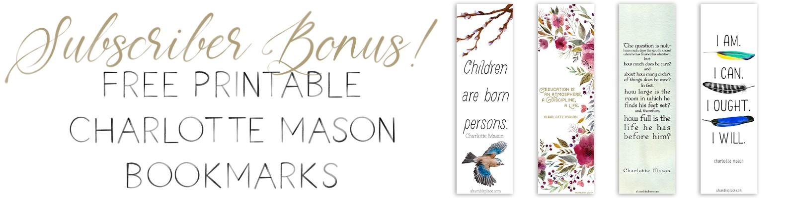 Free Printable Charlotte Mason Bookmarks