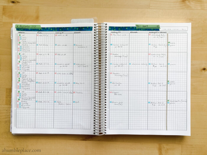 Charlotte Mason Homeschool Weekly Planning